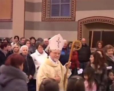 Il vescovo Coter a Gandino per Don Bosco